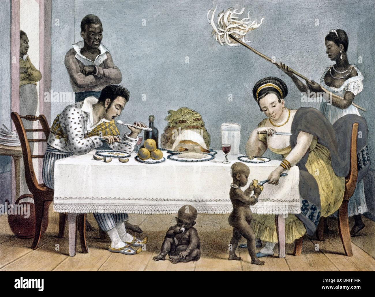 Dinnertime by Jean Baptiste Debret, (1768-1848)