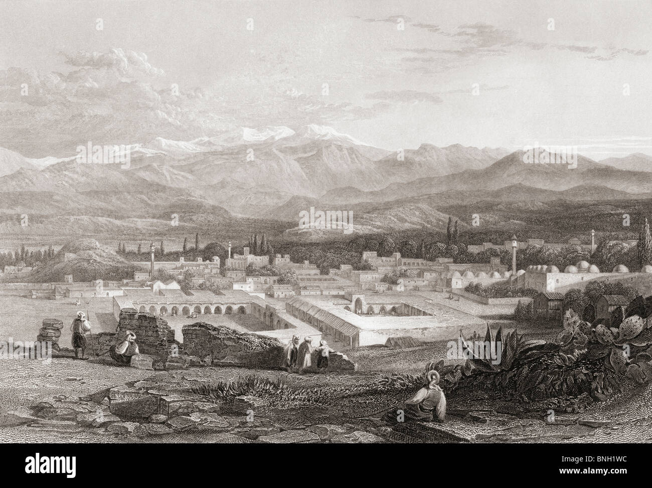Tarsus, Turkey. 19th century print drawn by W.L. Leitch from a sketch by Count Leon de Laborde. - Stock Image