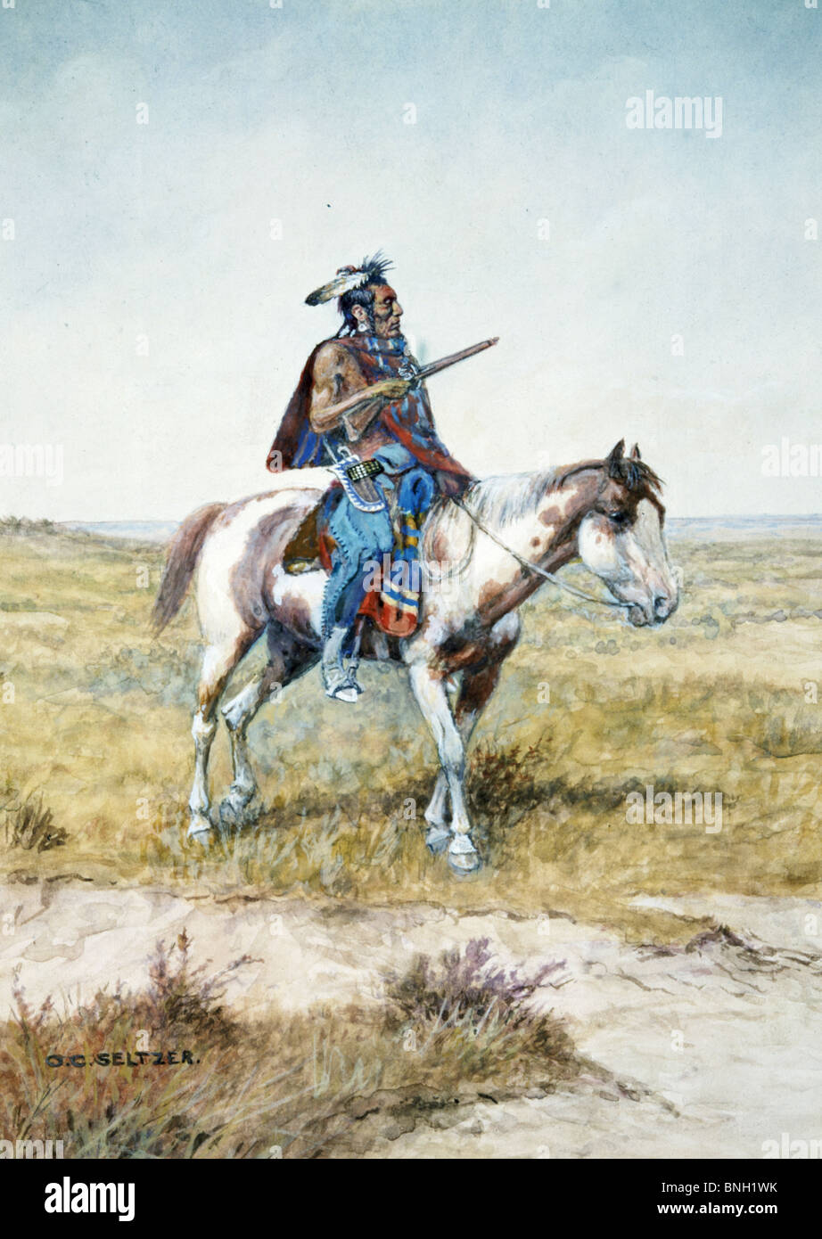 Indian Brave,  by Olaf C. Seltzer,  1877-1957 - Stock Image