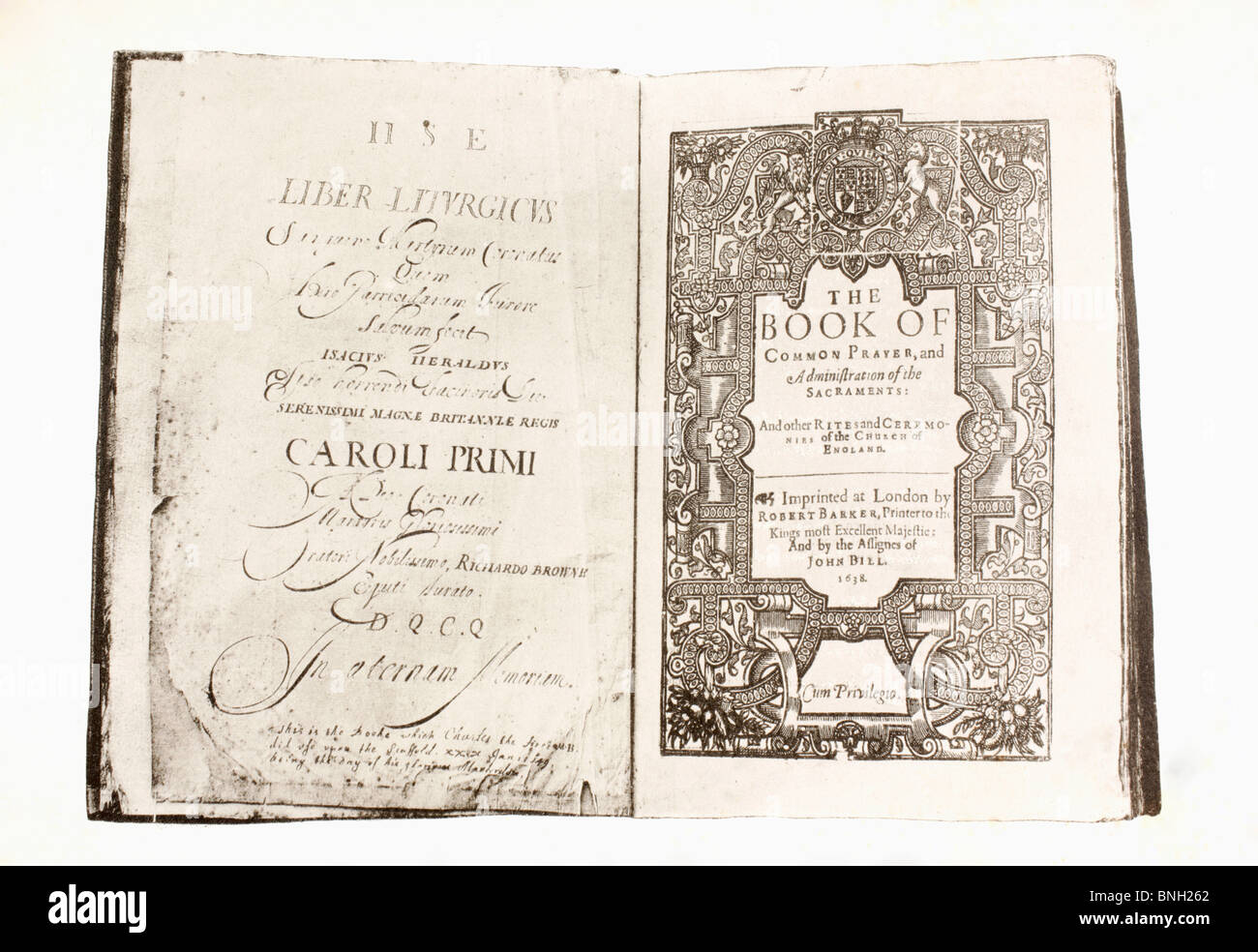 Prayer Book used by King Charles I when on the scaffold before his execution. - Stock Image