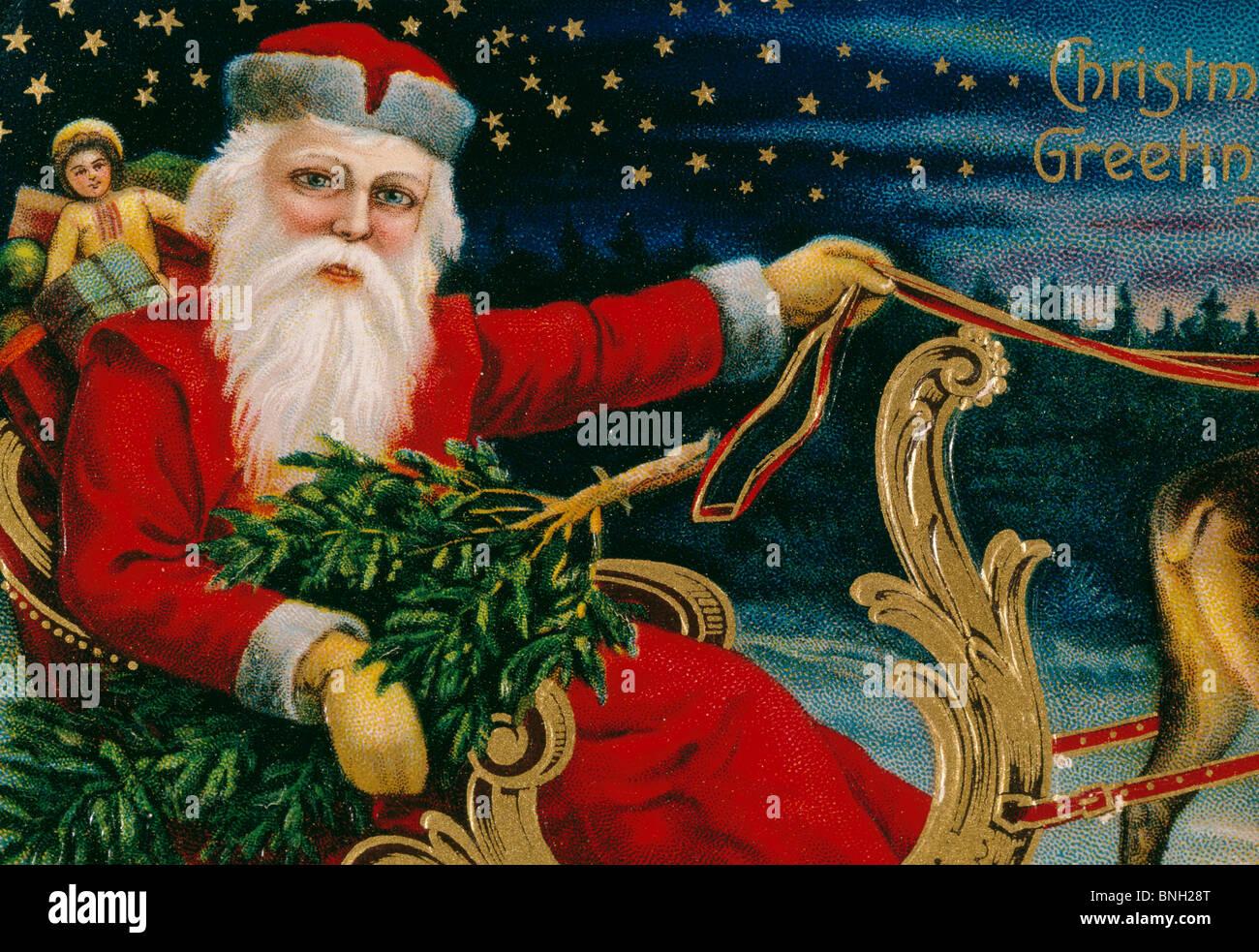 Christmas Greetings, Nostalgia Cards Stock Photo
