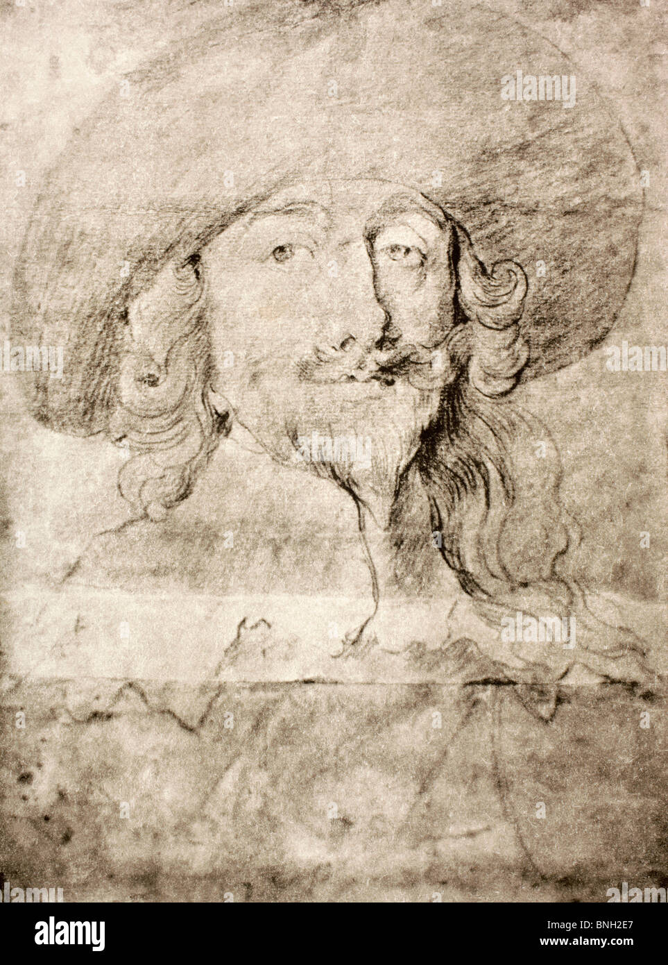 King Charles I of England 1600 - 1649. After a drawing by Vandyck. - Stock Image