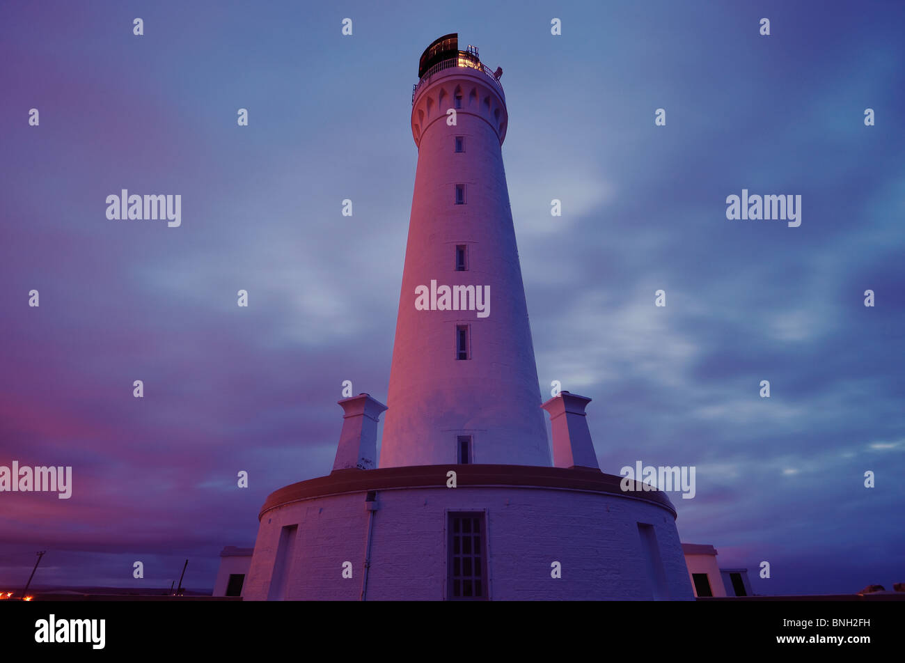 Covesea Skerries Lighthouse at night, Lossiemouth, Morayshire, Scotland - Stock Image