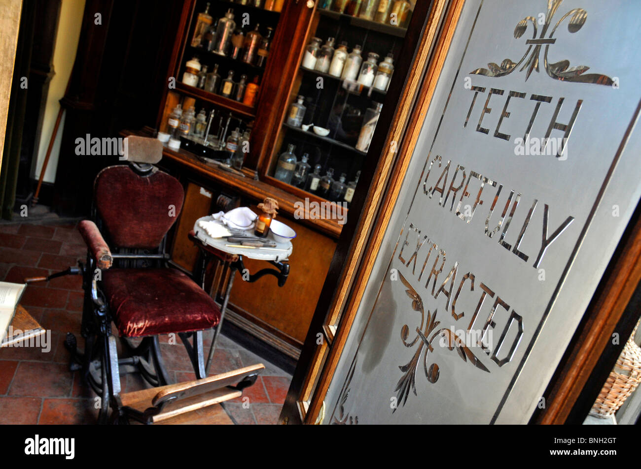 Dentist shop at Blists Hill, Victorian Town or Village, Ironbridge, Shropshire. Britain UK - Stock Image