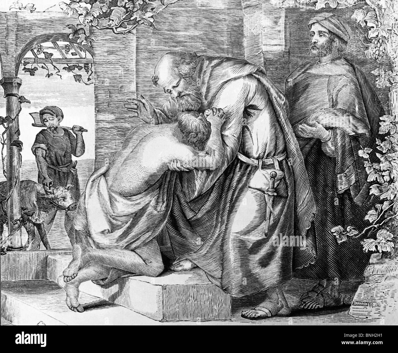 Parable of the Return of the Prodigal Son by Artist Unknown - Stock Image