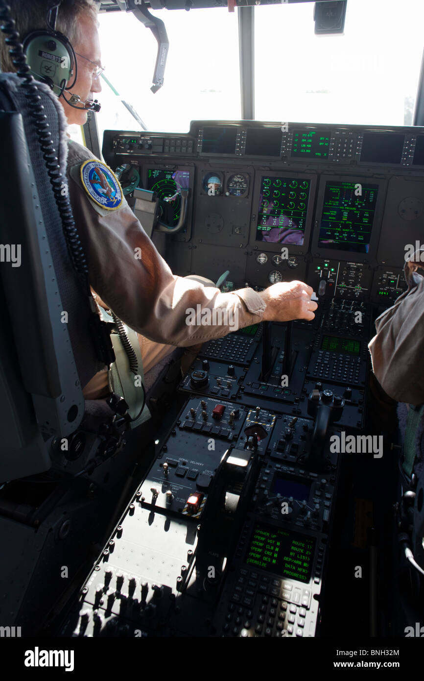 The cockpit of a Lockheed Martin-built C-130J Super Hercules airlifter. - Stock Image