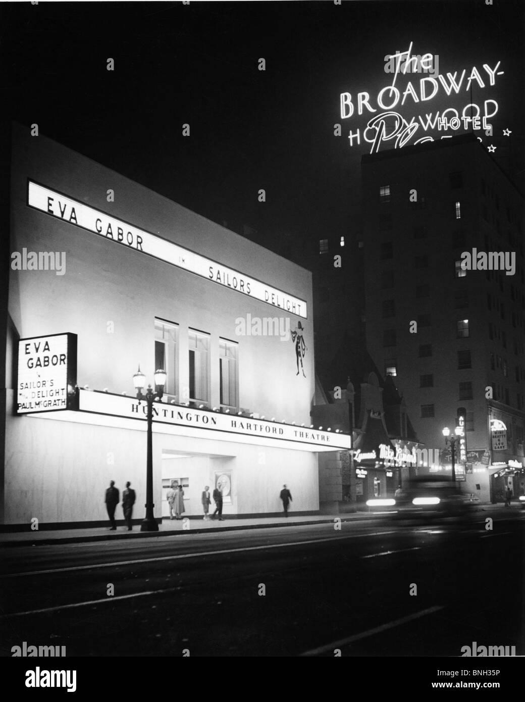 Movie theater lit up at night, Los Angeles, California, USA - Stock Image
