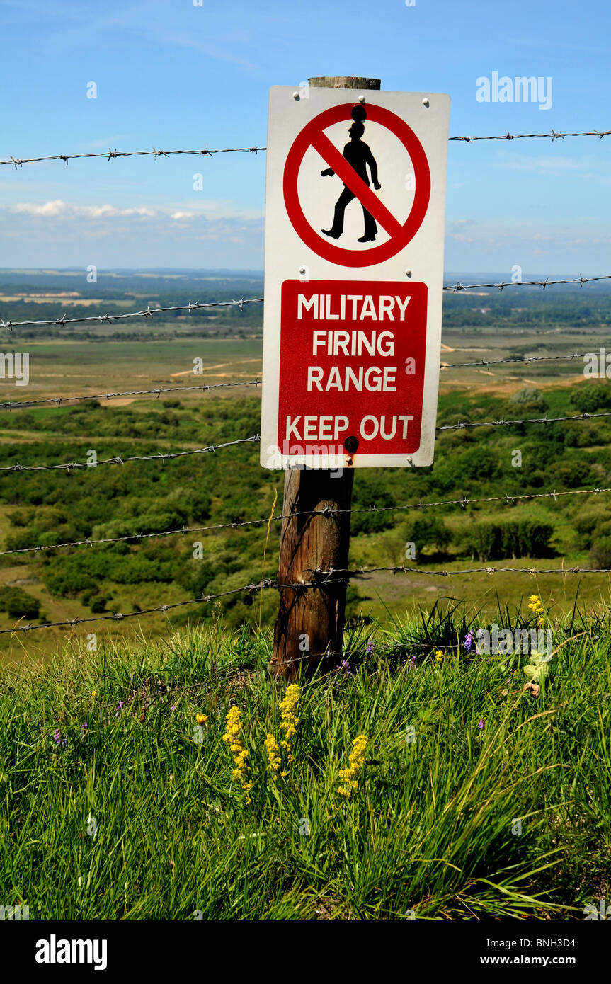 Military Firing Range warning sign in Dorset Britain UK - Stock Image
