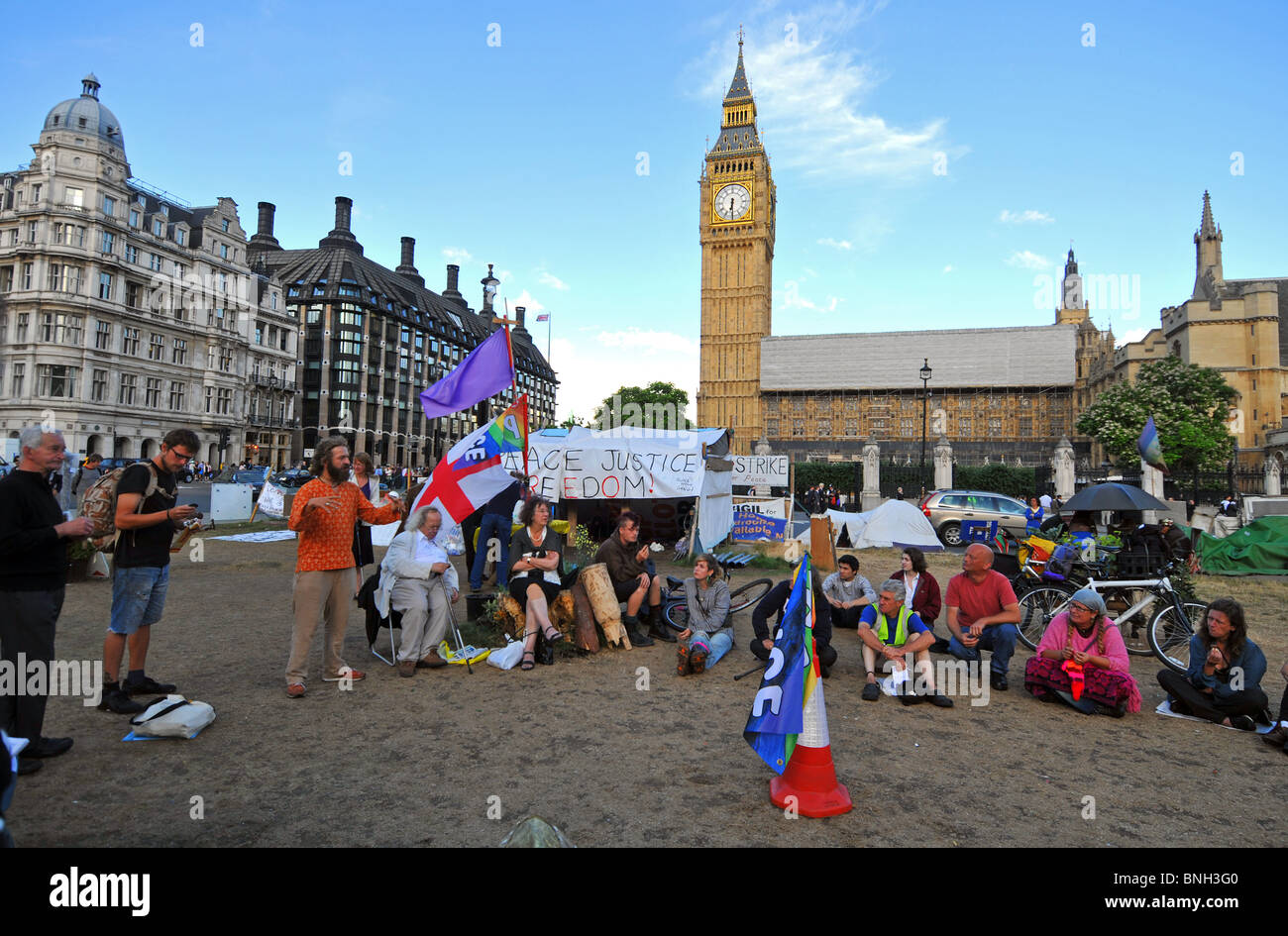 Protest camp at 'Parliament Square', Westminster, London, Britain, UK, July 2010 - Stock Image