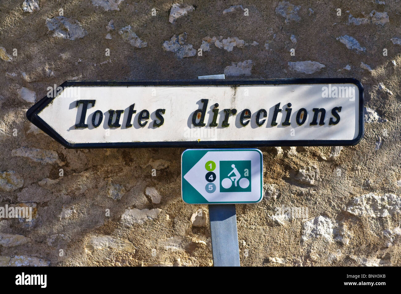 Old and new direction signs - Indre-et-Loire, France. - Stock Image