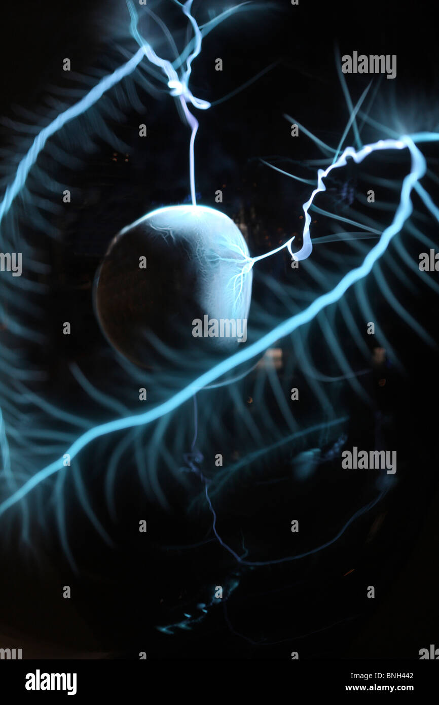 Plasma lamp, lightning ball. Generates artificial flashes in a glass ball. - Stock Image