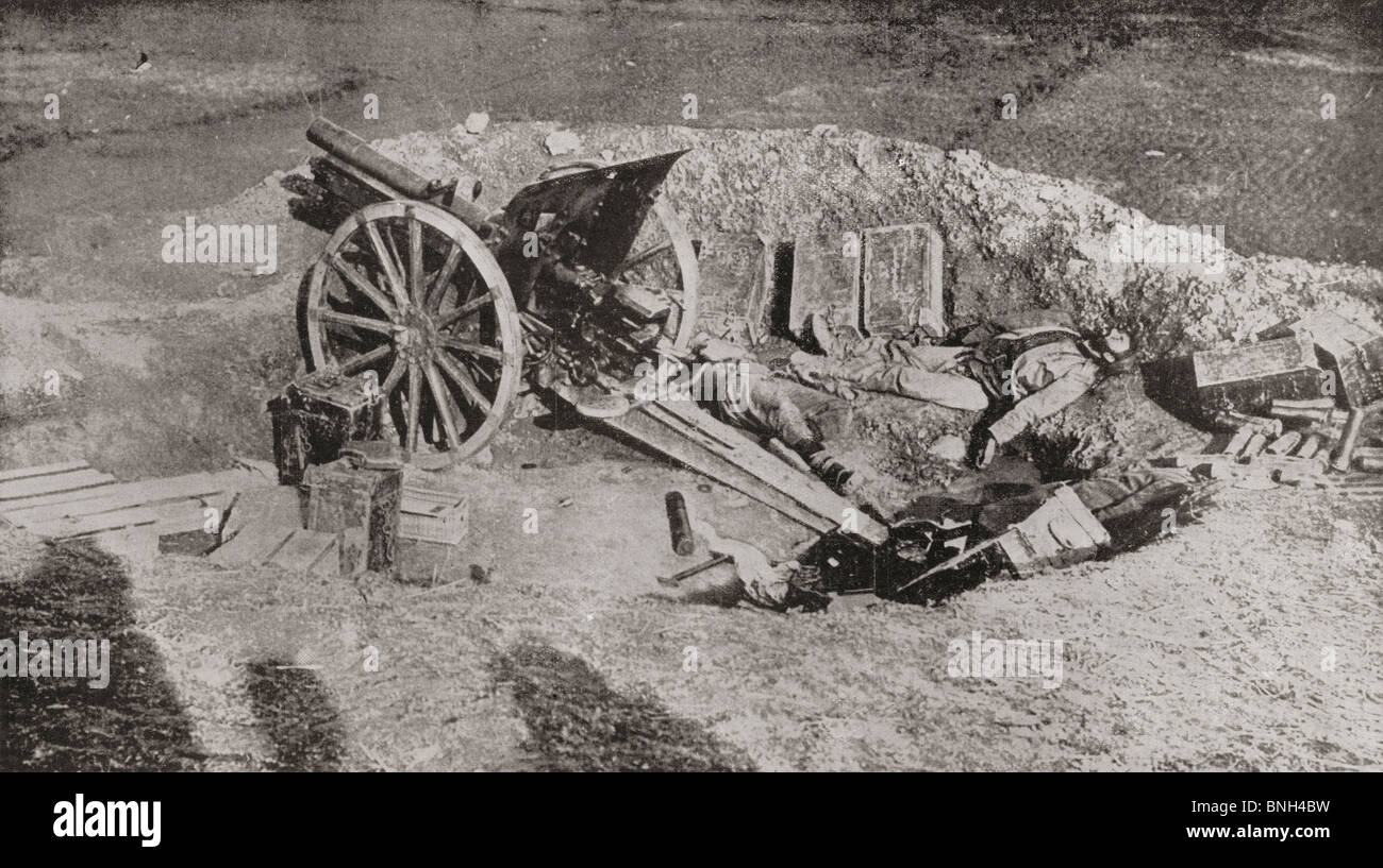 An abandoned field gun of the Austrian army after their defeat by the Serbians during World War I. - Stock Image