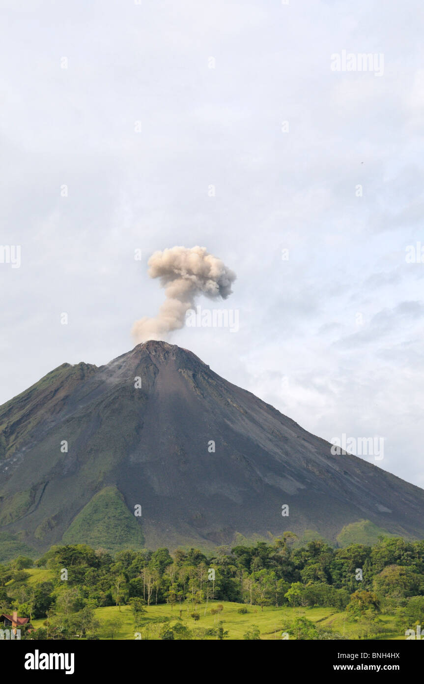 Arenal Volcano releasing gas cloud, La Fortuna, Costa Rica - Stock Image