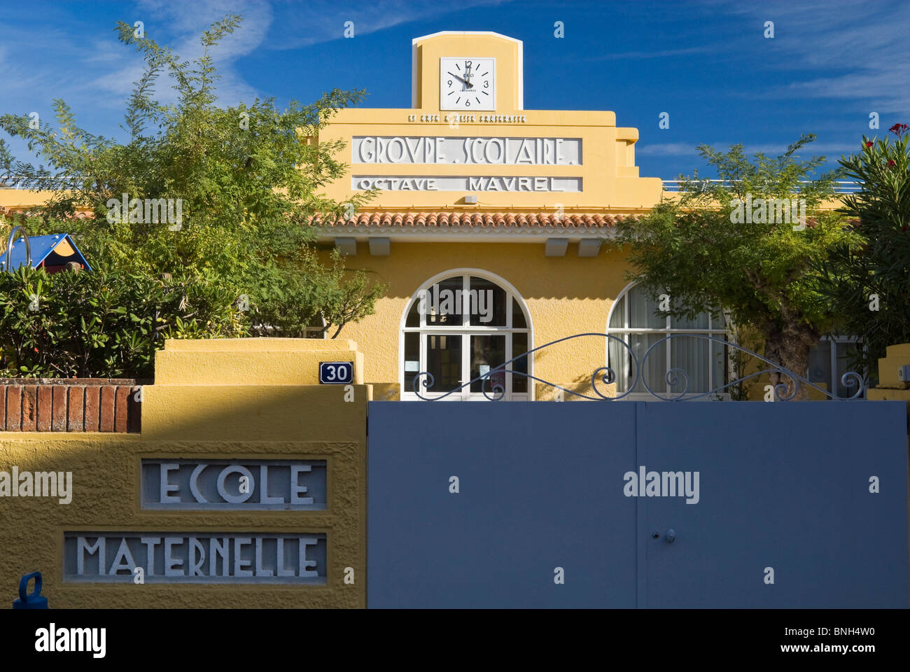 Colorful French maternal school in Bandol, Provence, France - Stock Image