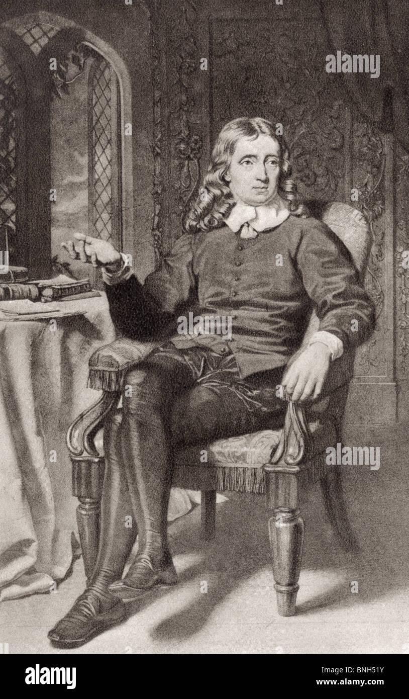 John Milton, 1608 to 1674. English poet, author, polemicist, Puritan and civil servant. - Stock Image