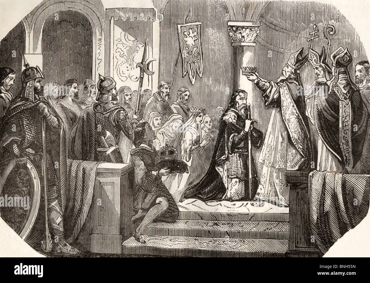 Coronation of Charlemagne as king of Italy. Charlemagne, c.742 to 814. King of the Franks and Emperor of the Romans - Stock Image