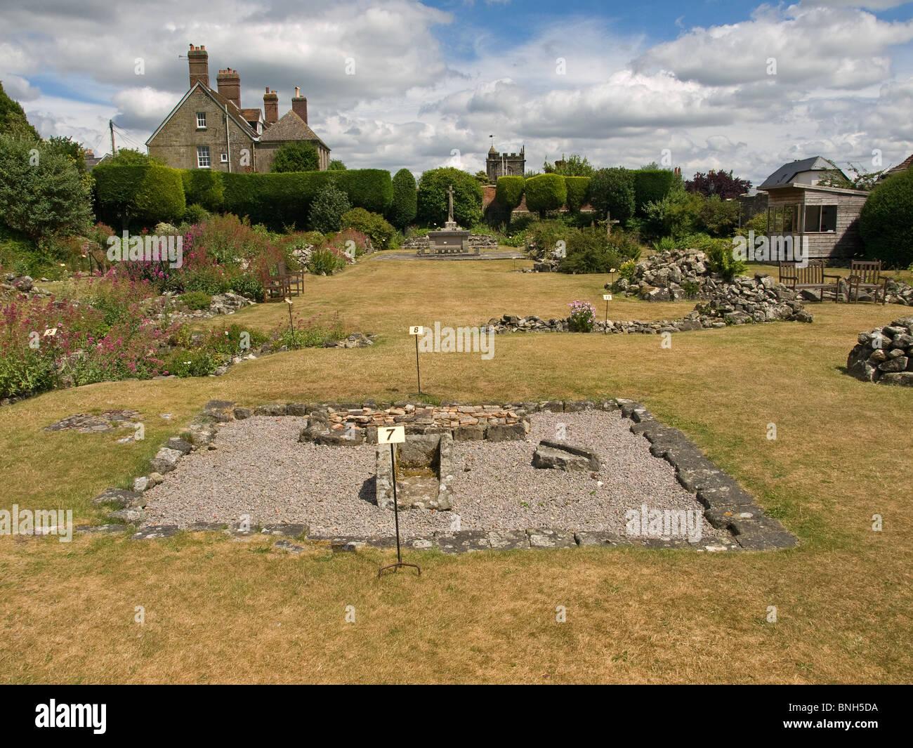 Ruins of Shaftesbury Abbey Dorset England UK - Stock Image