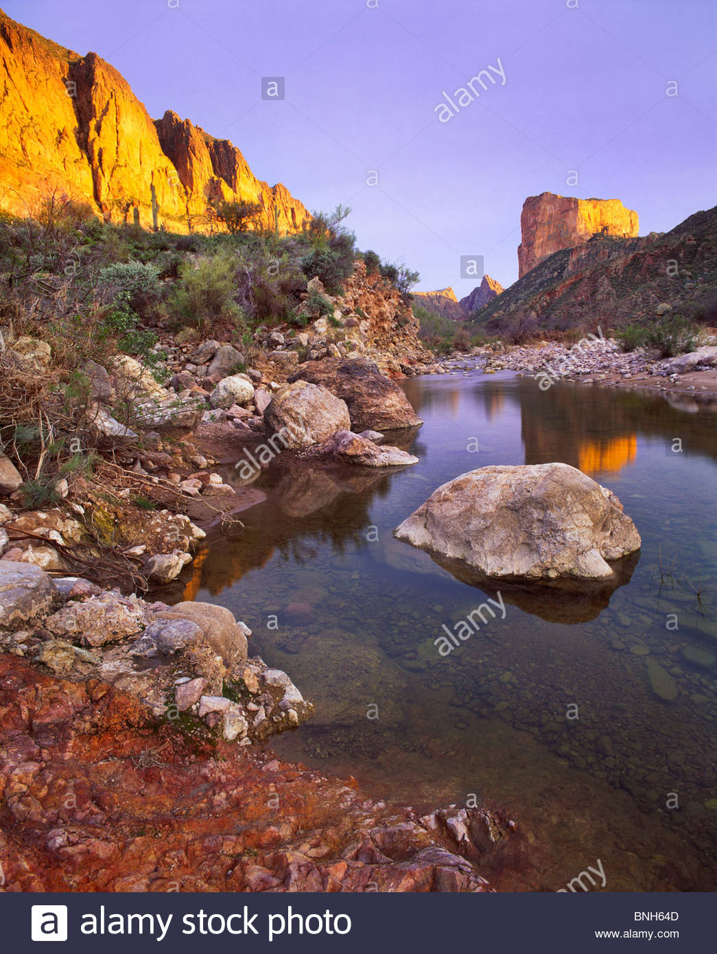 'Boulder Creek' and 'Battleship Mountain', [Superstition Wilderness Area] 'Tonto National Forest' - Stock Image
