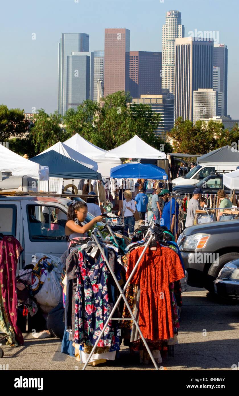 People Shopping Los Angeles Flea Stock Photos & People