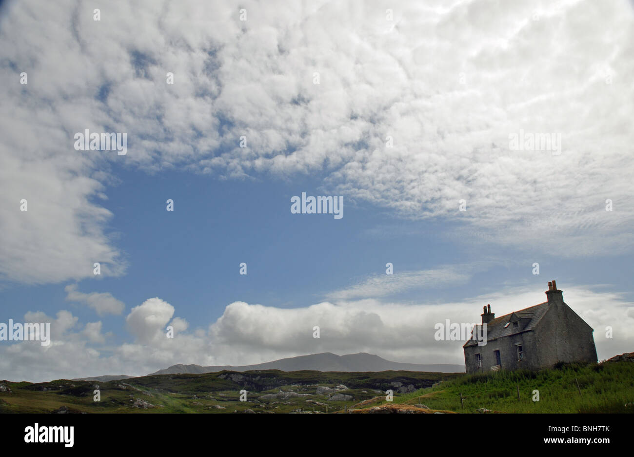 Isle of Lewis. Outer Hebrides derelict crofting cottage - Stock Image