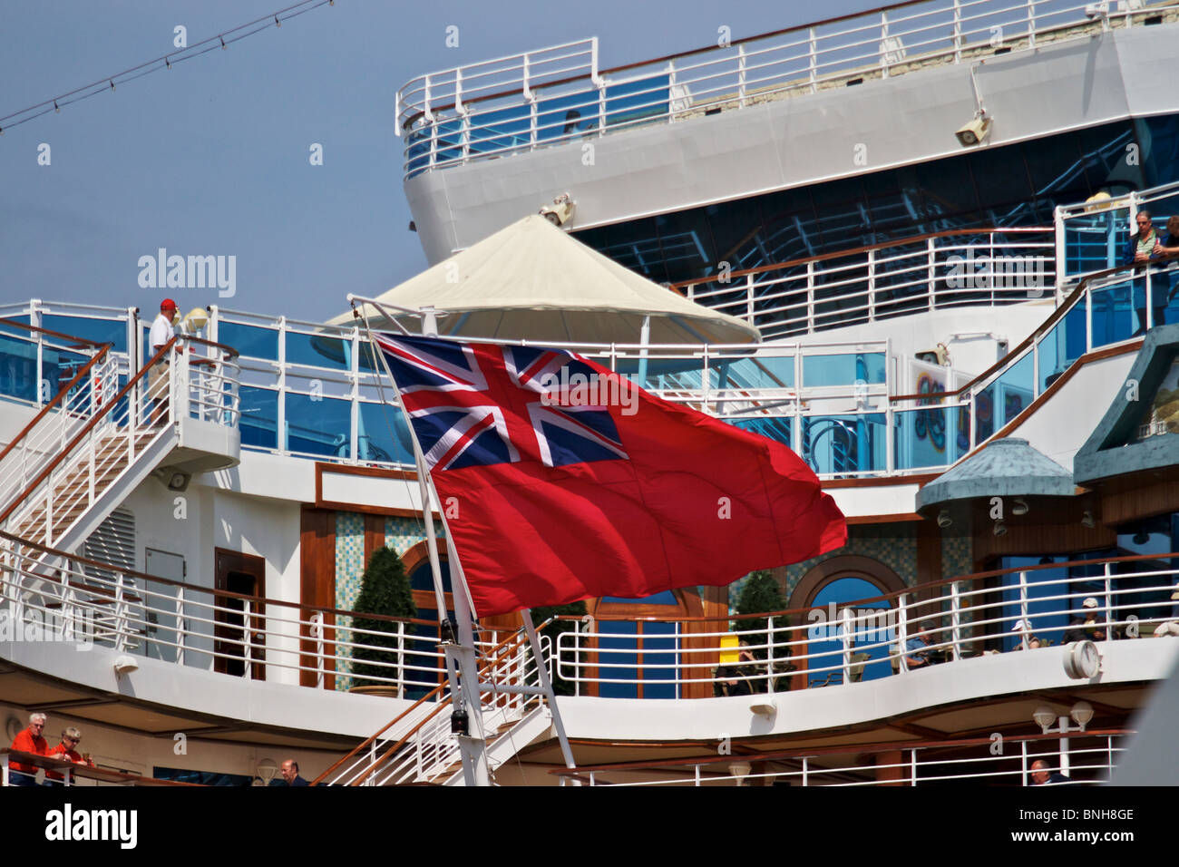 Civil Ensign being flown on Cruise ship CROWN PRINCESS whilst moored at Liverpool's cruise ship terminal - Stock Image