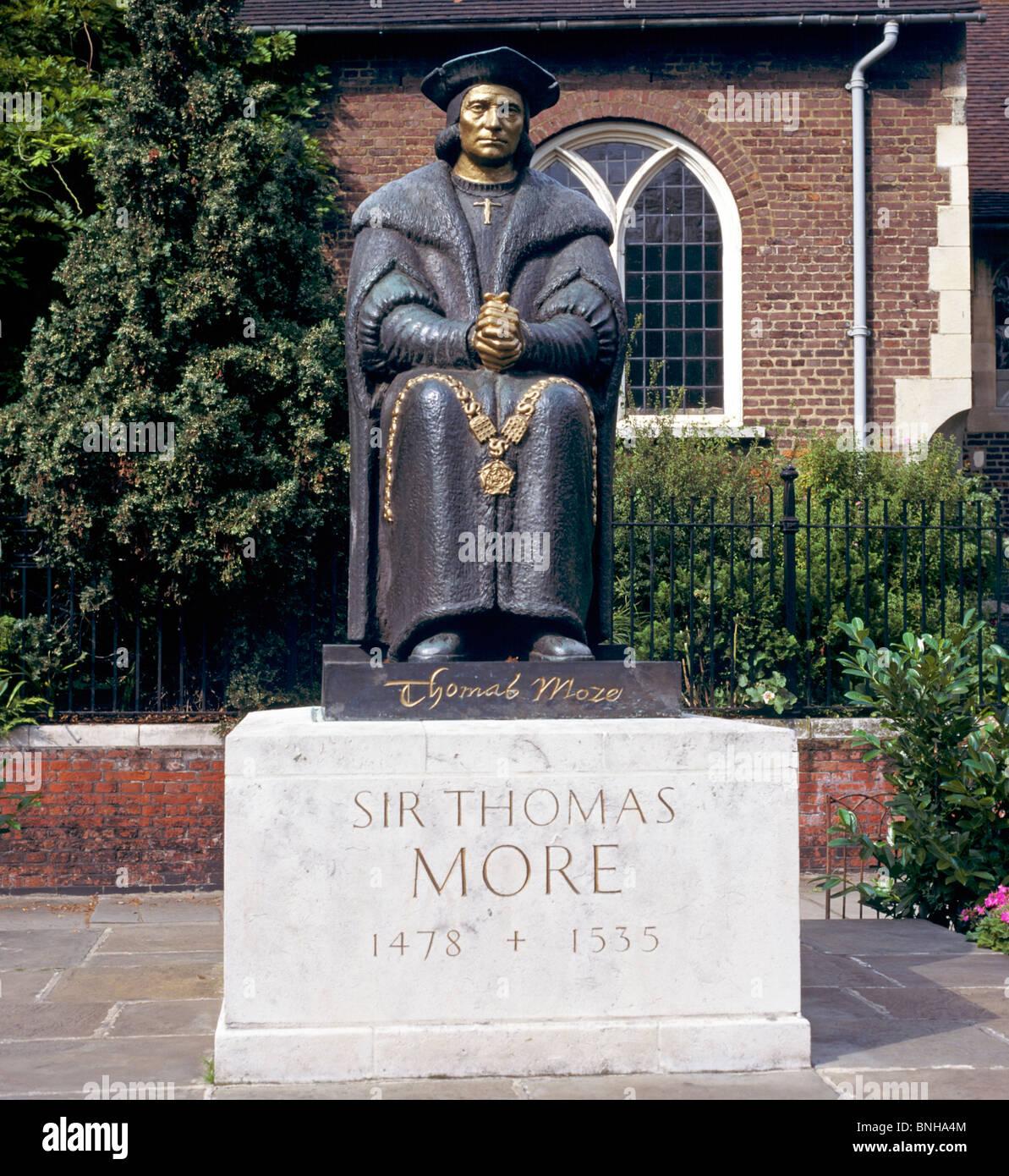Statue Of Sir Thomas Moore Chelsea Embankment London UK - Stock Image