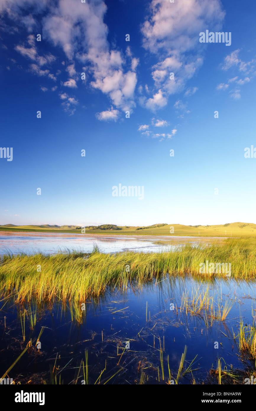 Beautiful lake with perfect sky - Stock Image
