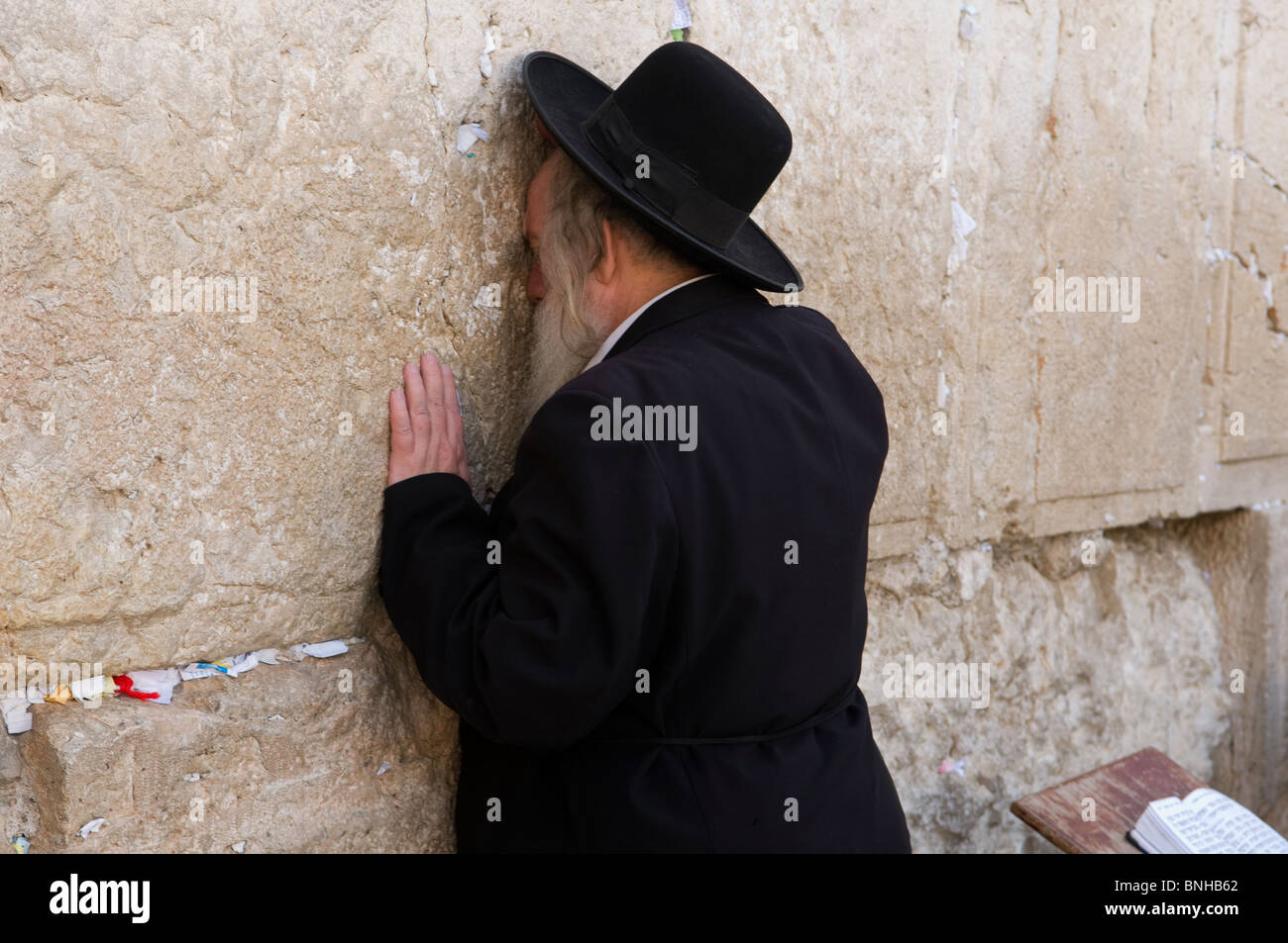 Hassidic Jew in prayer at the Western Wall in Jerusalem Stock Photo