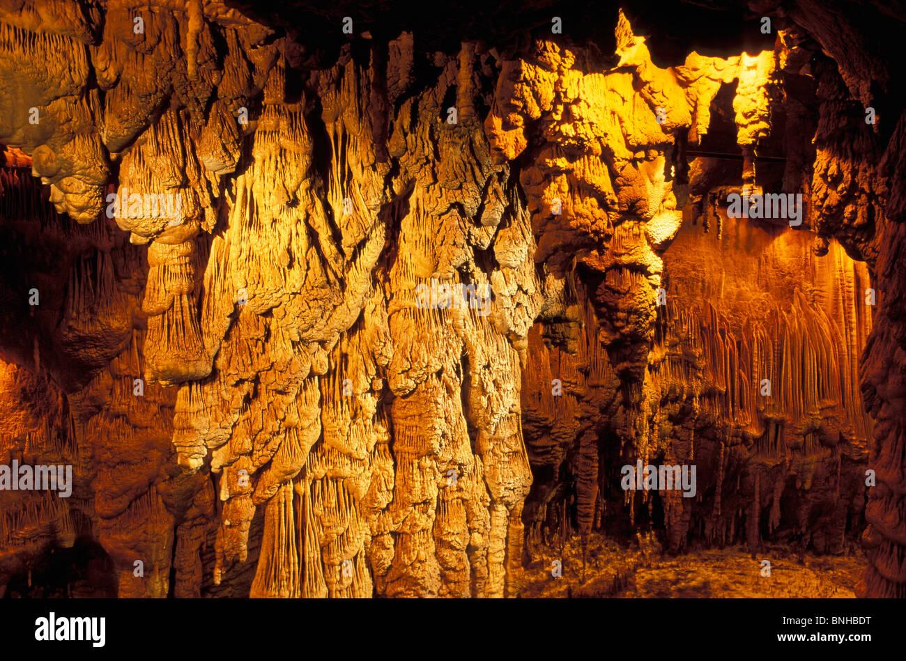 Usa Little Rock Arkansas Blanchard Springs Caverns Ozark Mountains Inside Indoors Nature Illuminated Illumination Stock Photo