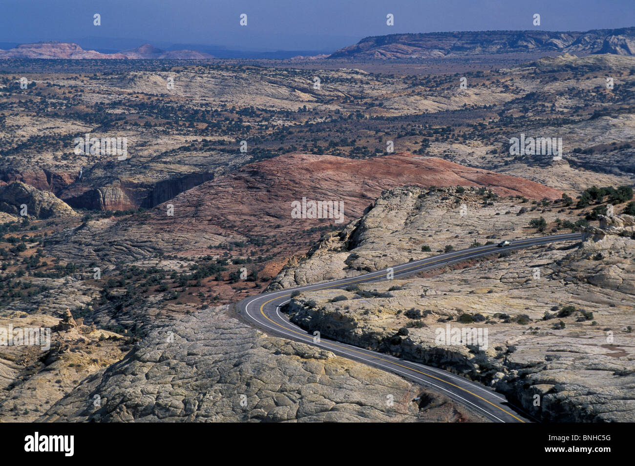Usa Escalante Utah Highway 12 Near Escalante Grand Staircase National Monument Colorado Plateau Road Landscape Hills - Stock Image