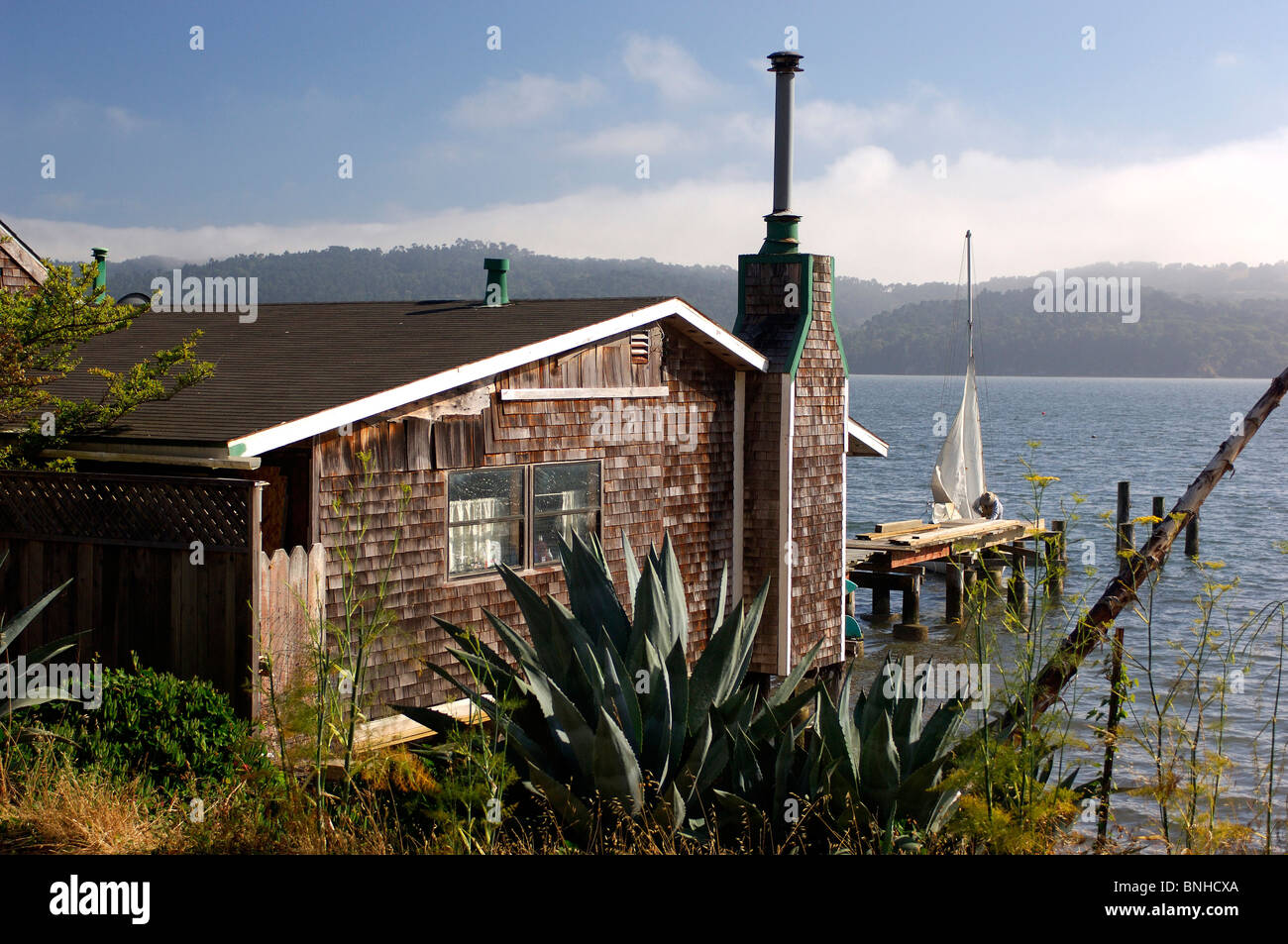 Usa Marshall California House At Tomales Bay Near Marshall Wooden Coast Sea Water Landscape United States of America - Stock Image
