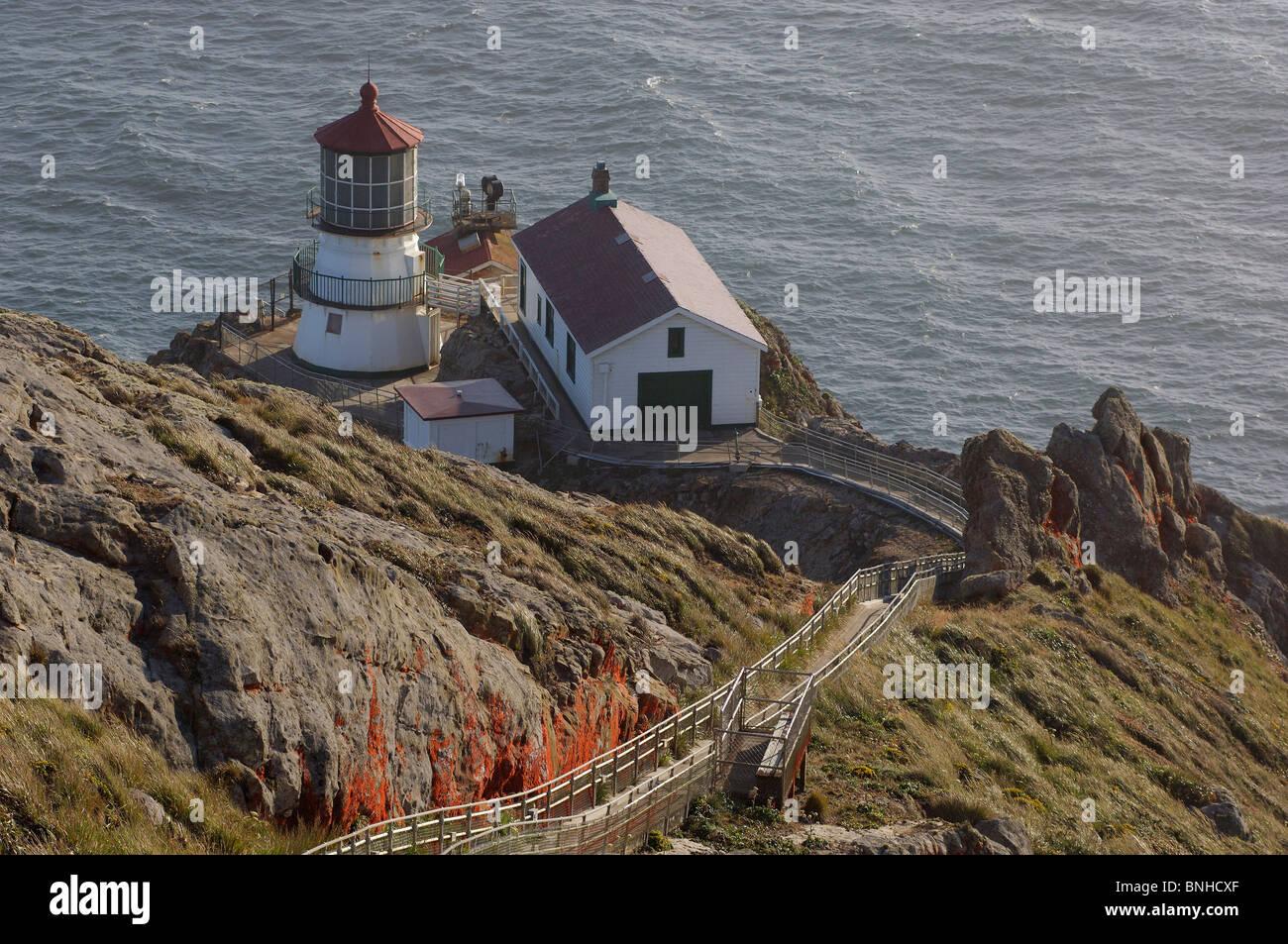 Usa Point Reyes Station California Lighthouse At Point Reyes National Seashore Near Point Reyes Station Coast Sea - Stock Image