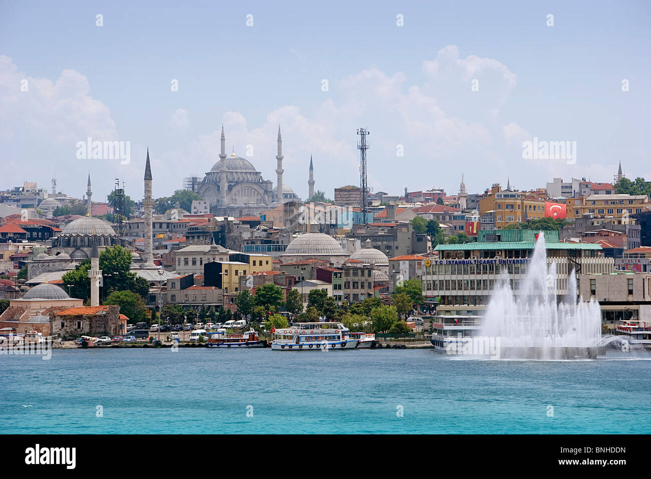 Turkey June 2008 Istanbul city ships boats fountain sea - Stock Image