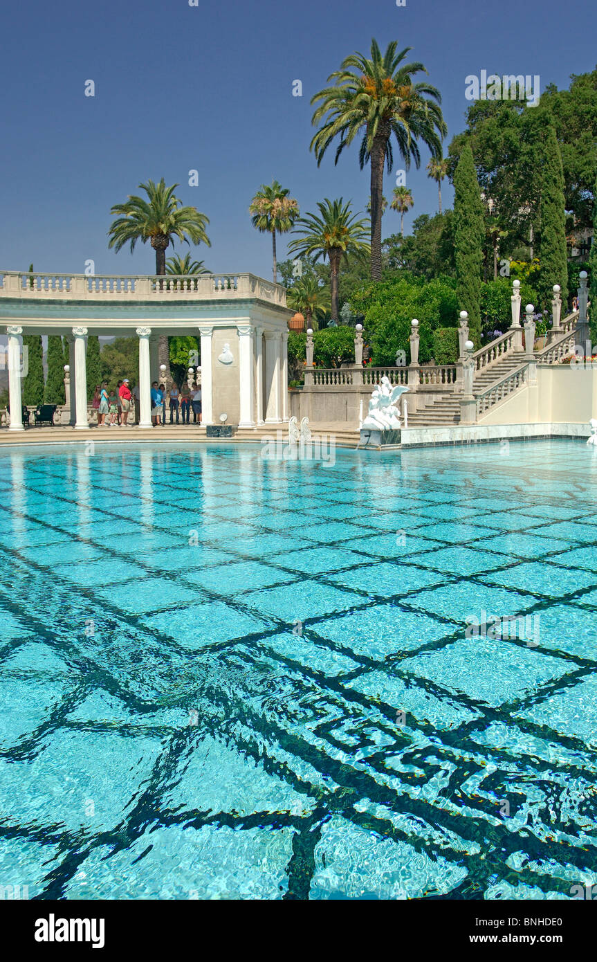 Usa San Simeon California Neptune Pool Hearst Castle State Park Eclecticism Architecture Villa Garden Park United Stock Photo