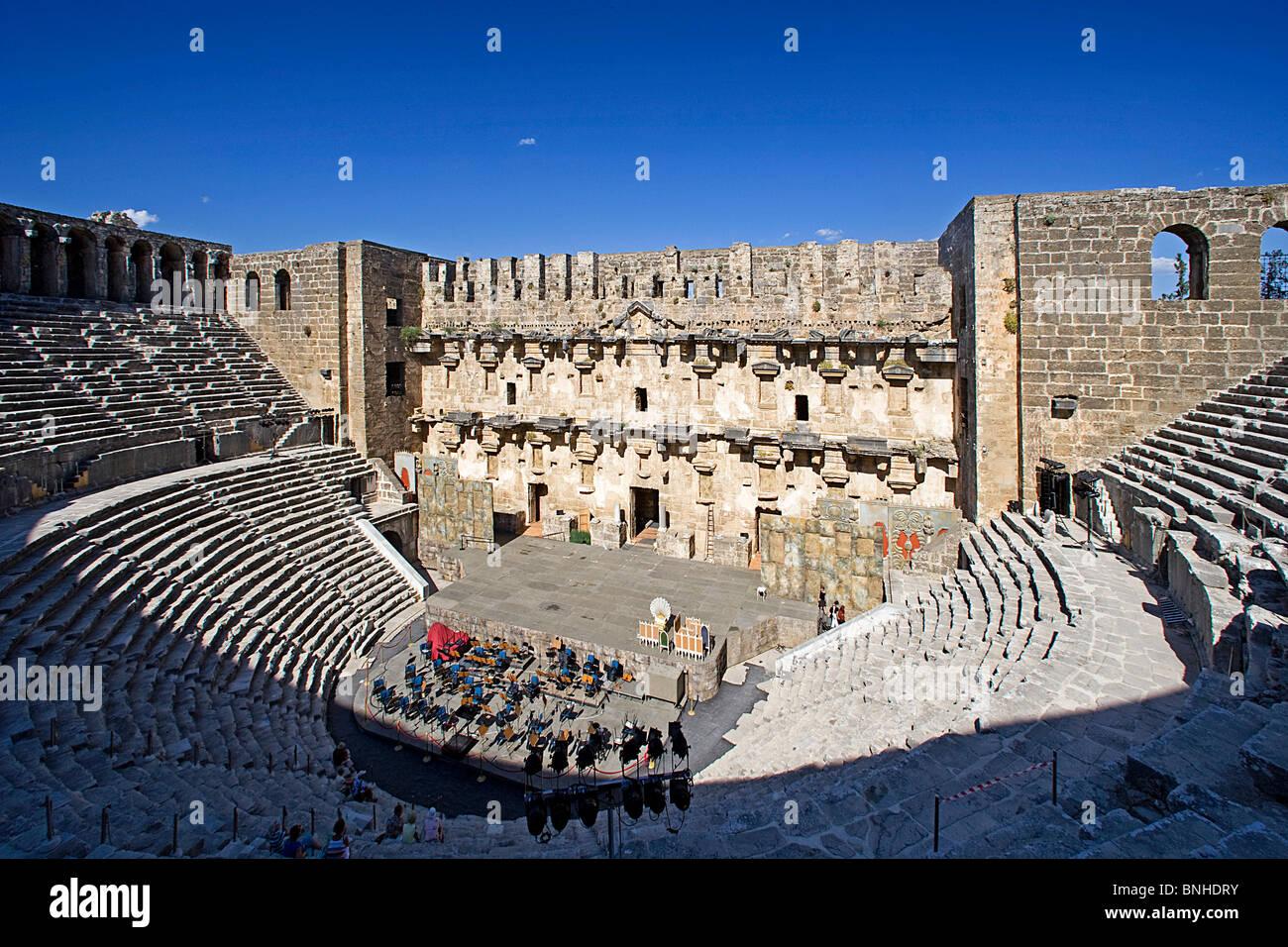 Turkey June 2008 Aspendos city ancient city ancient site historic ruin ruins Roman history Theatre - Stock Image