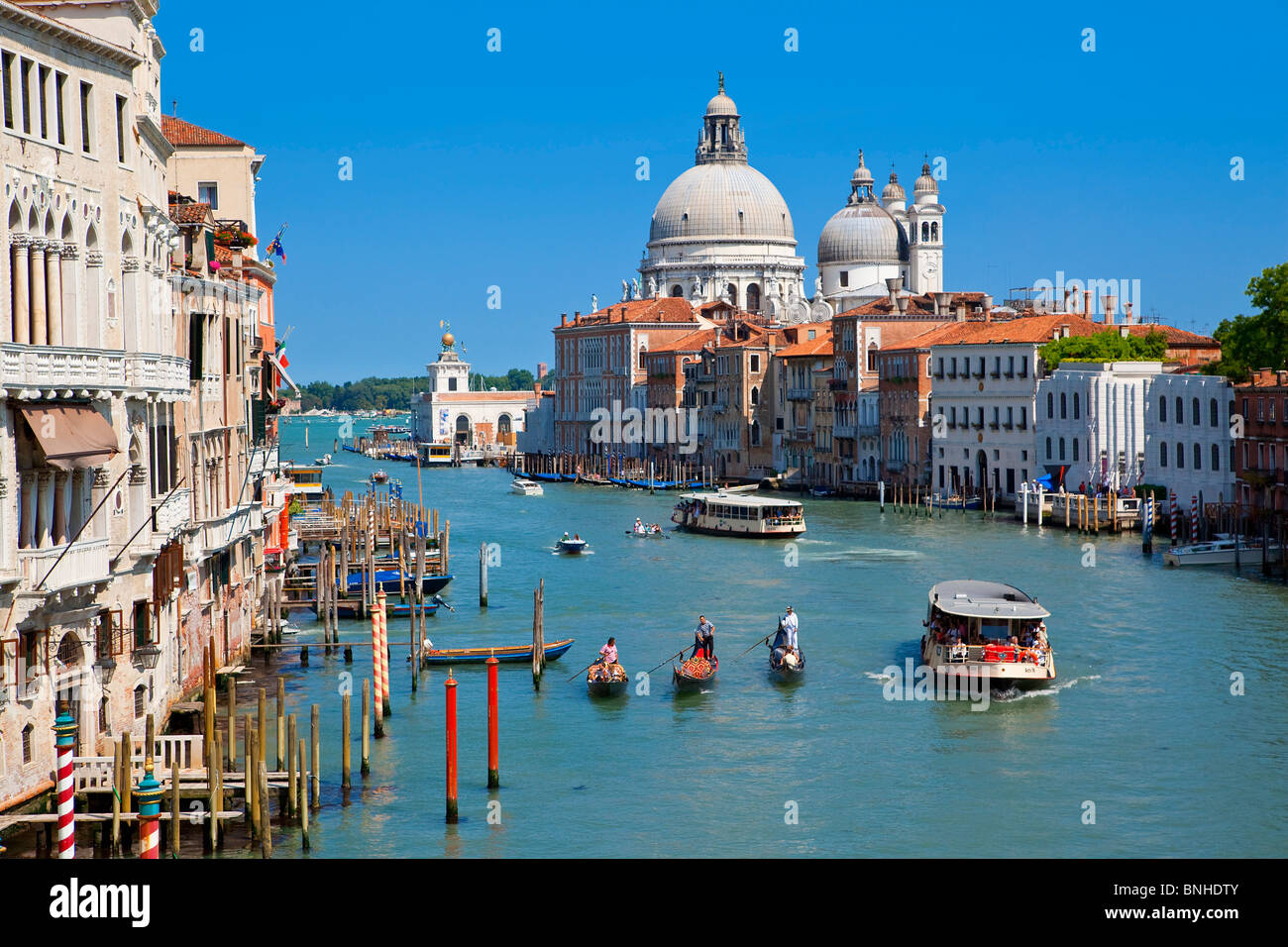 Europe, Italy, Venezia, Venice, Listed as World Heritage by UNESCO, Grand Canal and Santa Maria della Salute - Stock Image