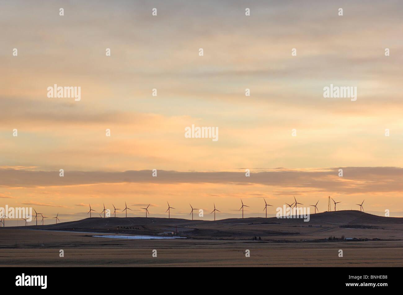 Canada Pincher Creek Alberta Wind Power Turbines Winter Wind Power Windmill Farm Generator Industry Energy Plant - Stock Image