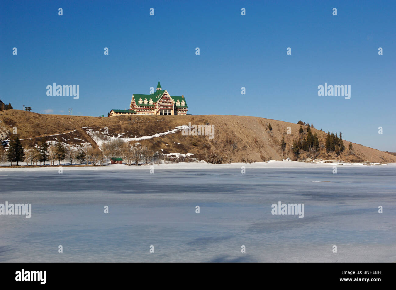 Canada Waterton Alberta Winter Prince Of Wales Hotel Waterton Lakes National Park Landscape Scenery Lake Snow Cold - Stock Image