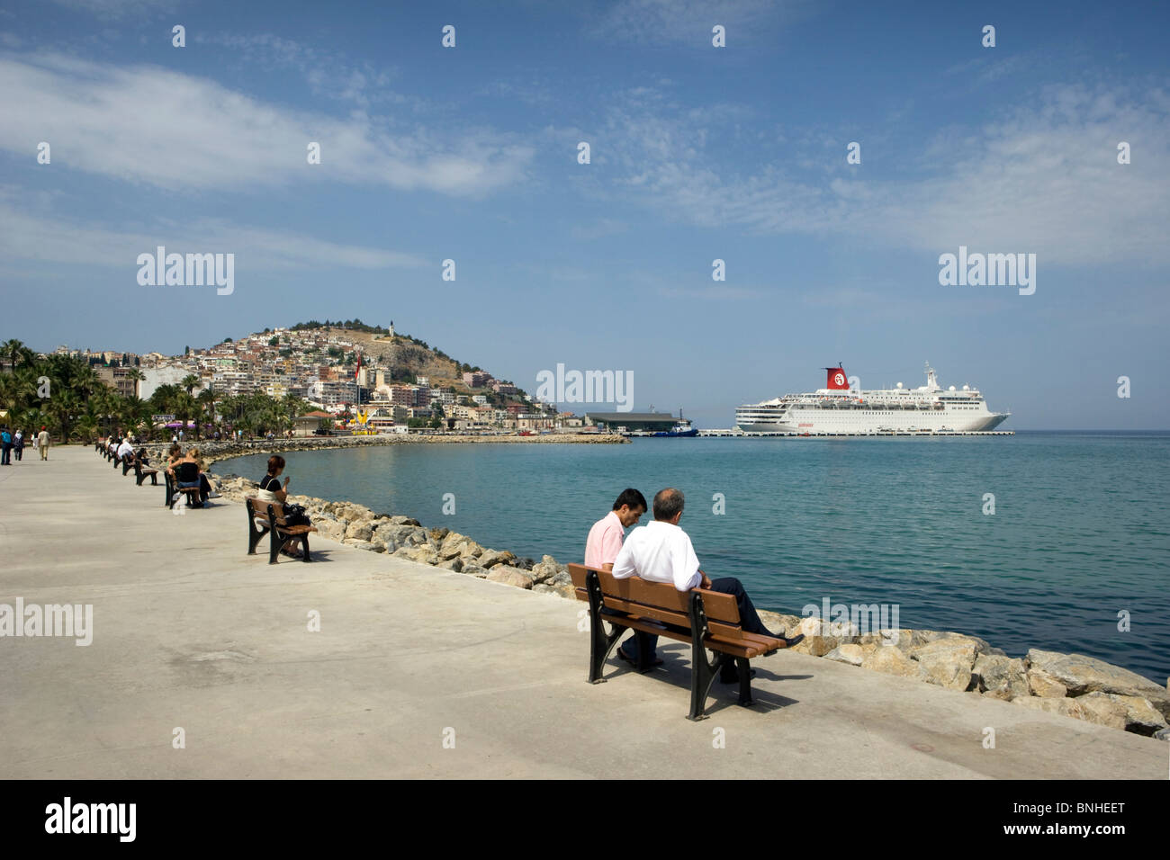 Turkey June 2008 Kusadasi city Mediterranean Sea coast ship promenade - Stock Image