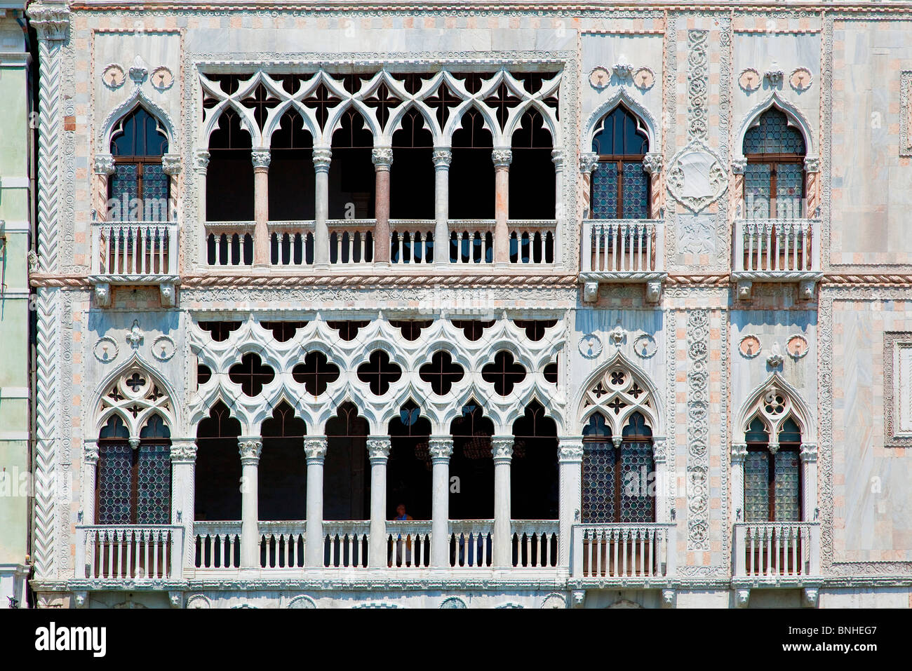 Europe, Italy, Venezia, Venice, Listed as World Heritage by UNESCO, The Gothic palace of Ca D'Oro - Stock Image