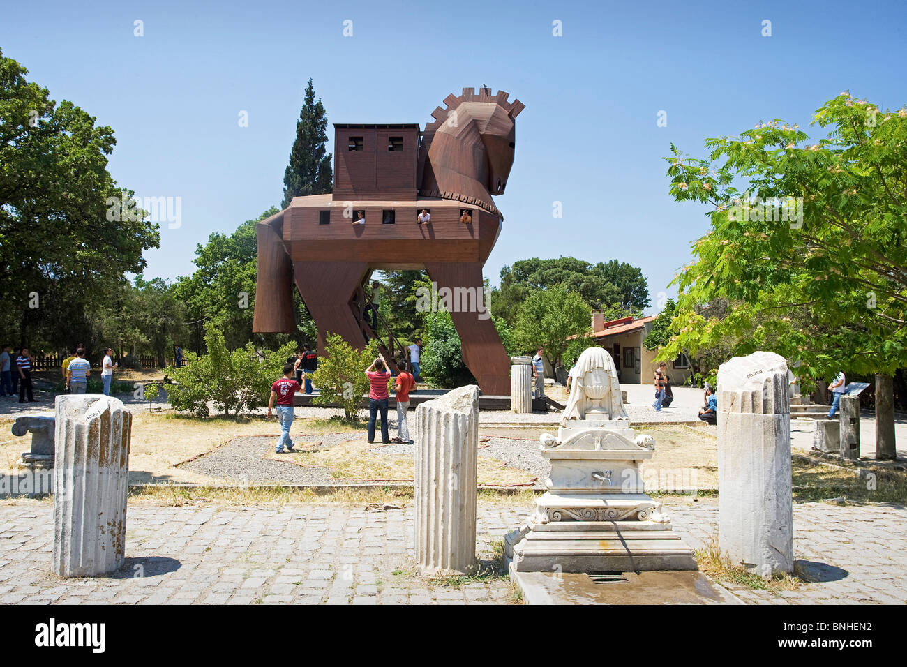 Turkey June 2008 Troy city Troyan horse Historic Ruins Ruin History Ancient - Stock Image