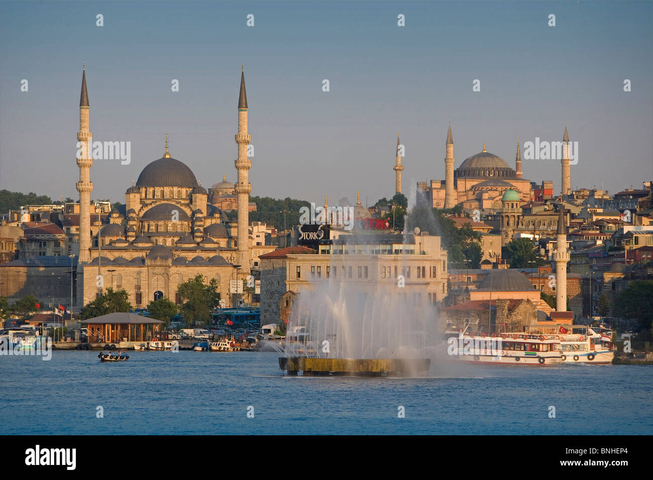 Turkey June 2008 Istanbul city Golden Horn Mosques Fountain Coast See - Stock Image
