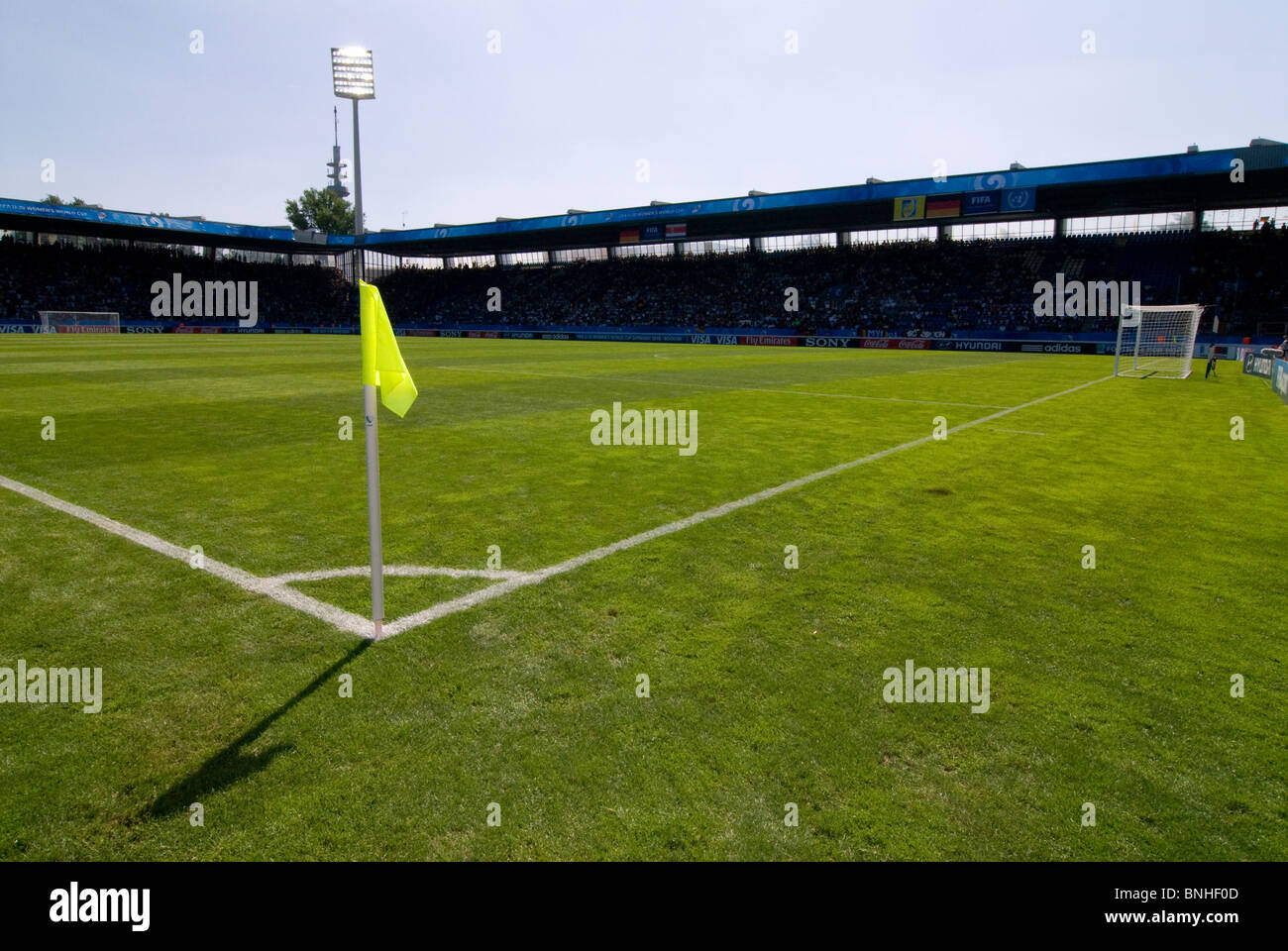 Soccerfield Ruhrstadion in Bochum, Germany with corner flag. - Stock Image