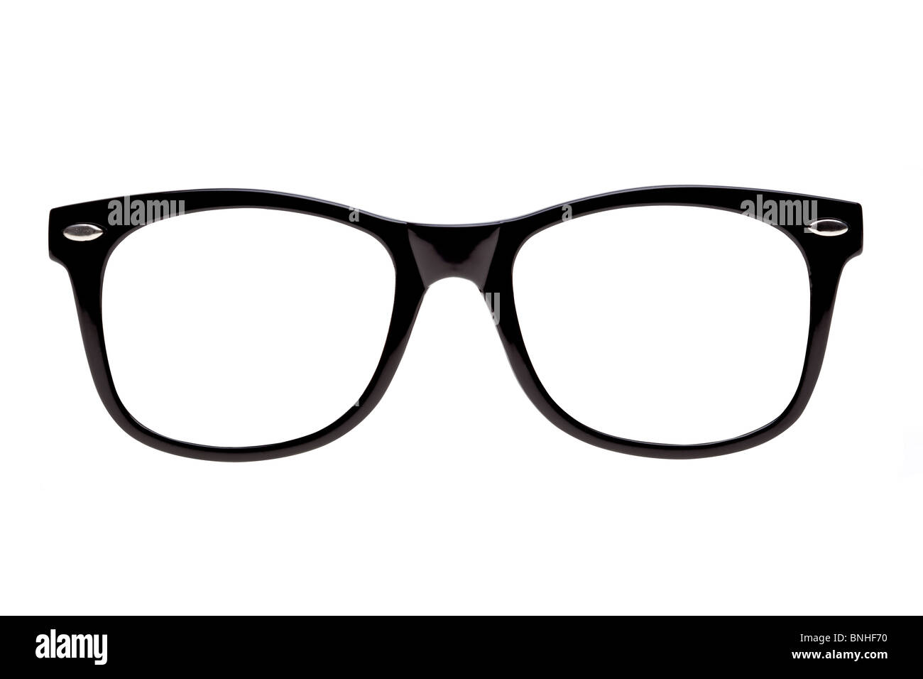 Photo of Black spectacle frames the type of glasses nerds wear, isolated on white with clipping paths for the frames - Stock Image