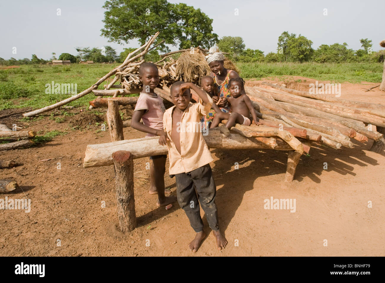 Bemobah family at the village of Sor No. 1, Gonja triangle, Damango district, Ghana. - Stock Image