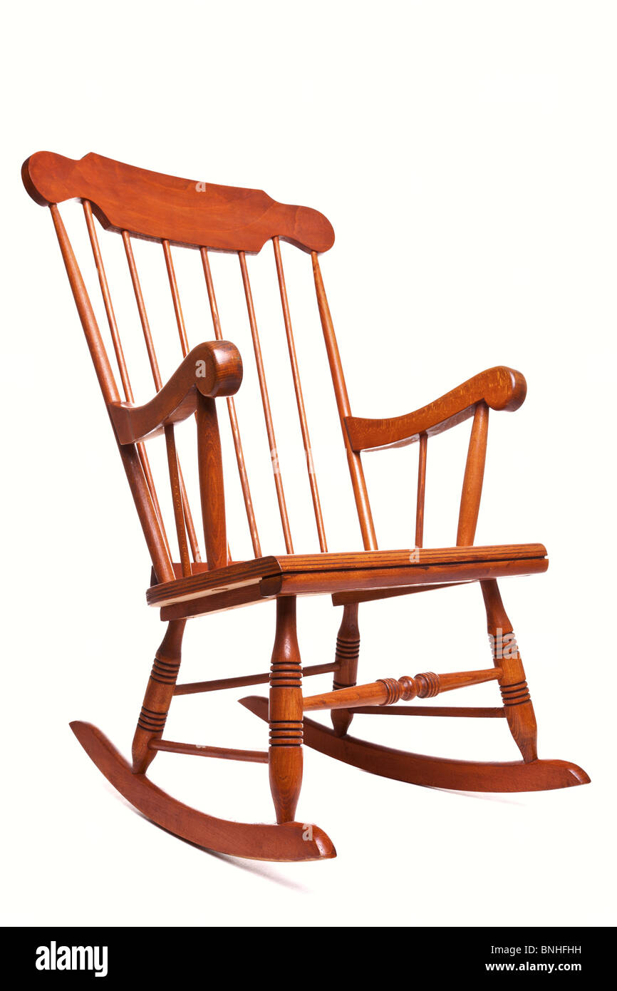Photo Of A Rocking Chair Isolated On A White Background   Stock Image