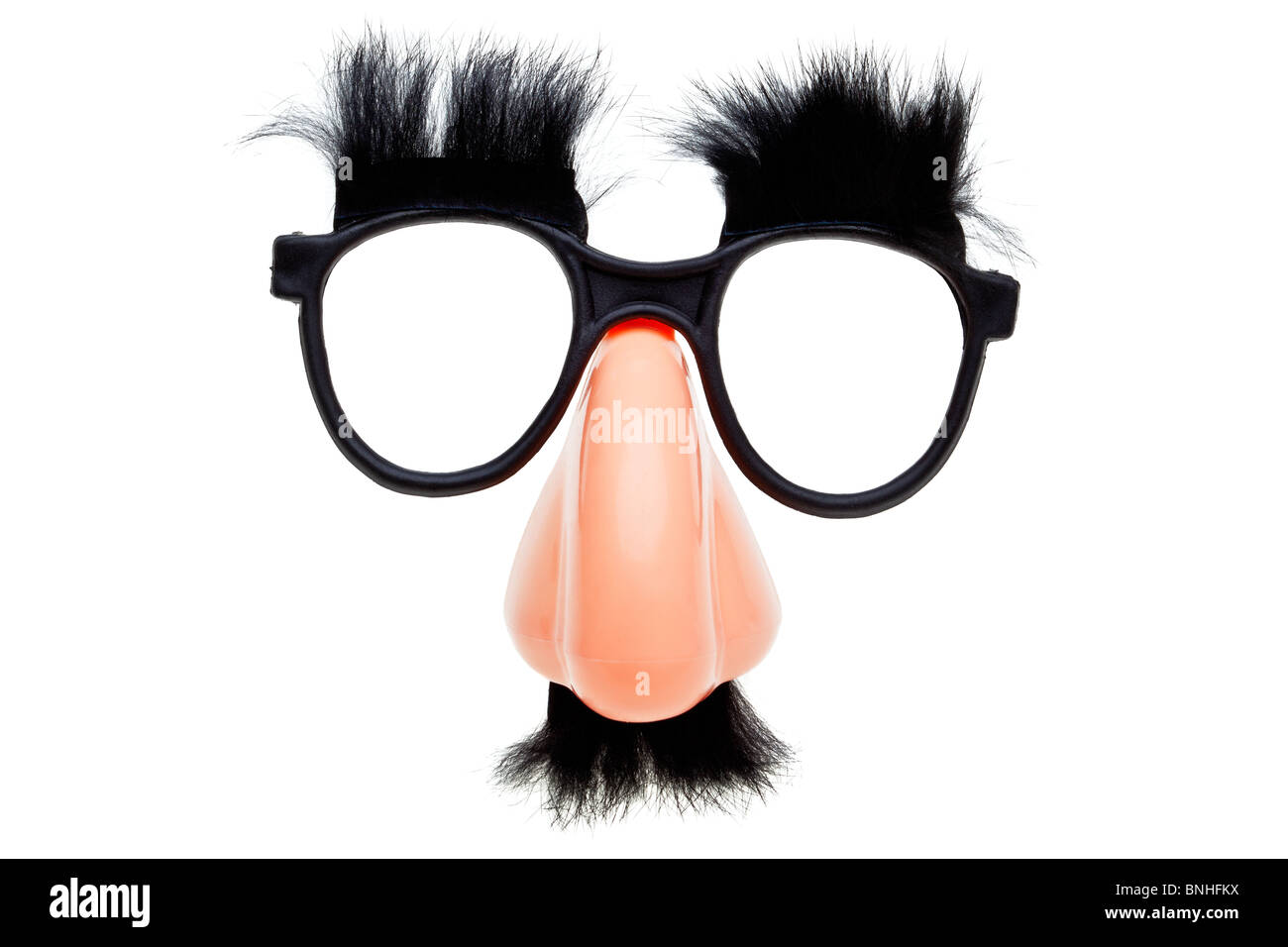 Photo of a pair of novelty glasses isolated on a white background - Stock Image