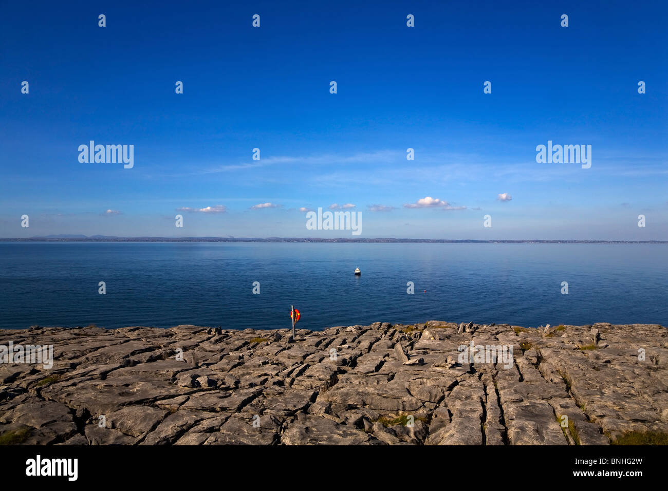 Limestone pavement, The Burren, County Clare, Ireland - Stock Image