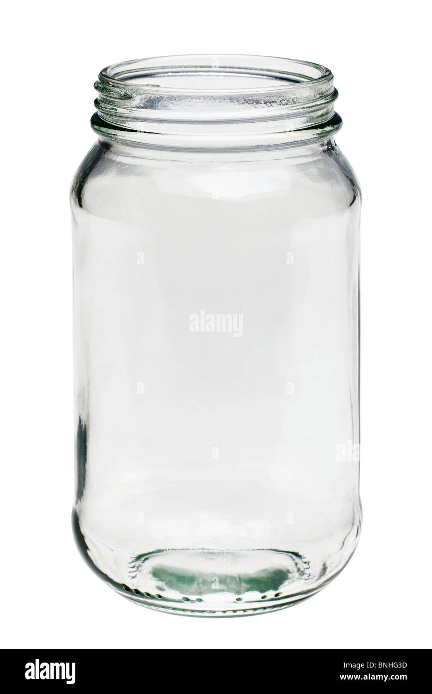 Photo of an Empty glass jar isolated on a white background - Stock Image