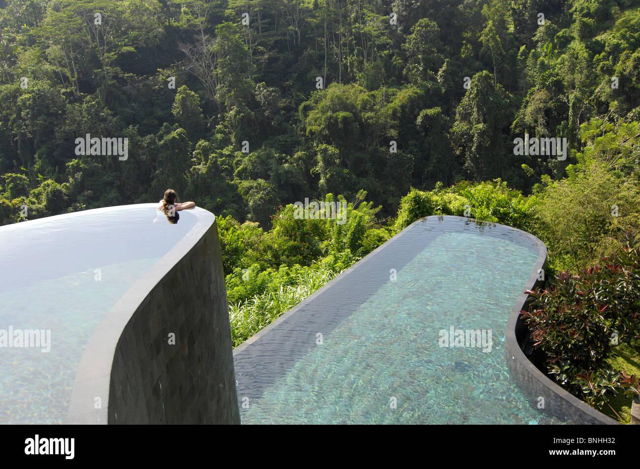 Bali Asia Indonesia Travel Location Ubud Hotel Ubud Hanging Gardens Pool  One Person Swimming Modern Architecture Bathing